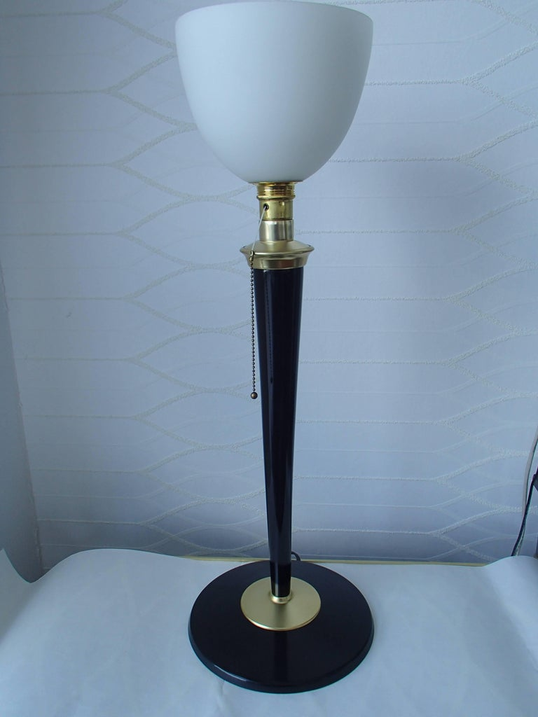 Art Deco Mazda Table Lampe Black Brass Original Glass For Sale At
