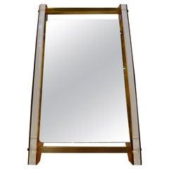 Art Deco / MCM Lucite Faux Tortoiseshell Pattern and Brass Vanity / Floor Mirror