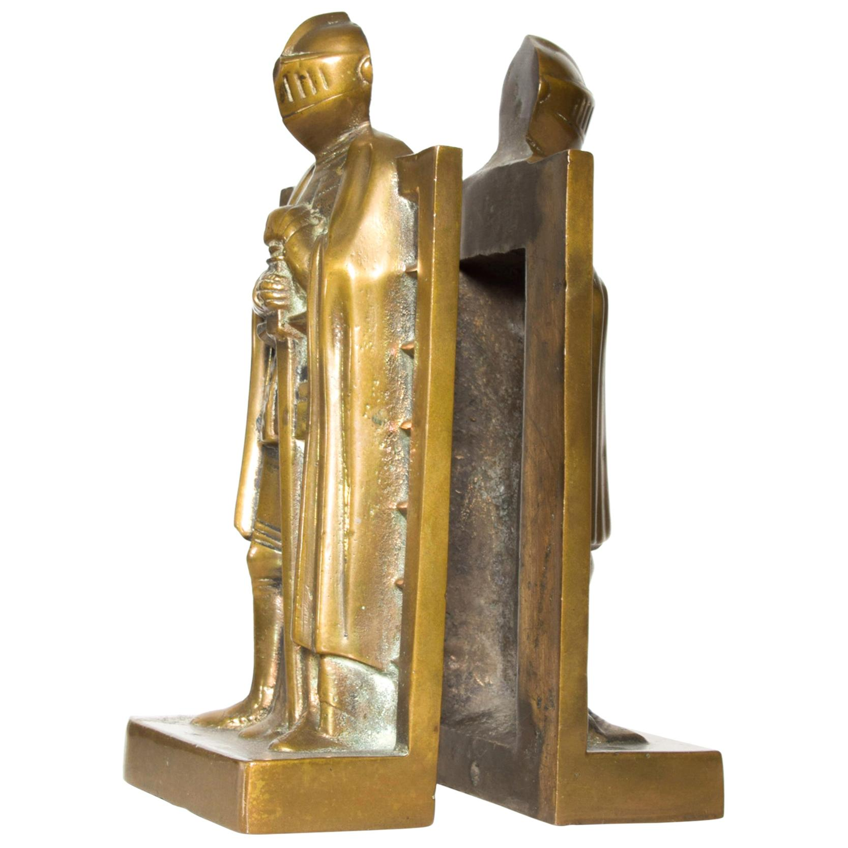 Art Deco Medieval Robed Knight Shining Armor Bookends Sculptural Solid Bronze