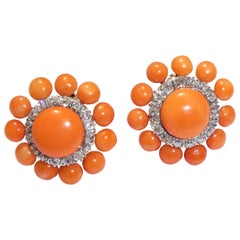 Art Deco Mediterranean Red Coral Diamonds 14 Karat Gold Coral Clip-On Earrings