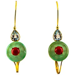 Art Deco Mediterranean Red Coral Jade Aquamarine Yellow Gold Lever-Back Earrings