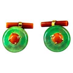 Art Deco Mediterranean Red Coral Jade Yellow Gold Cufflinks
