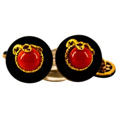 Art Deco Mediterranean Red Coral Onyx Ruby Mother of Pearl Yellow Gold Cufflinks