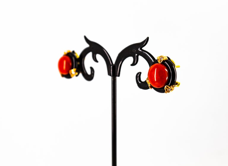Art Deco Mediterranean Red Coral Onyx White Diamond Yellow Gold Clip-On Earrings For Sale 6