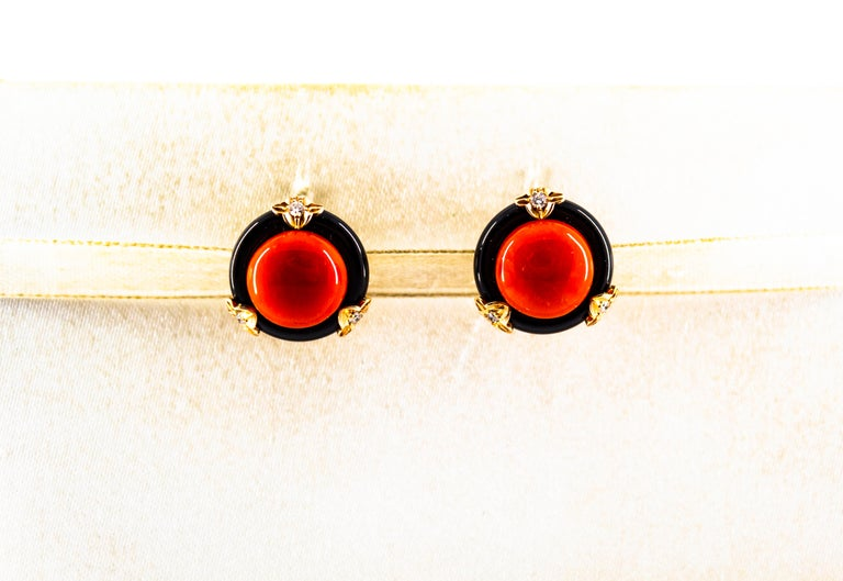 These Earrings are made of 14K Yellow Gold. These Earrings have 0.22 Carats of White Diamonds. These Earrings have Mediterranean (Sardinia, Italy) Red Coral and Onyx. All our Earrings have pins for pierced ears but we can change the closure and make