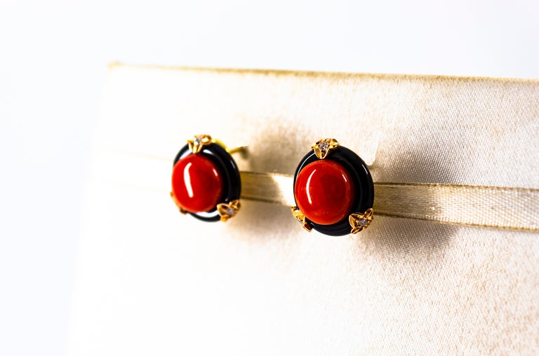 Women's or Men's Art Deco Mediterranean Red Coral Onyx White Diamond Yellow Gold Clip-On Earrings For Sale