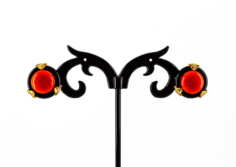 Art Deco Mediterranean Red Coral Onyx White Diamond Yellow Gold Clip-On Earrings For Sale 1
