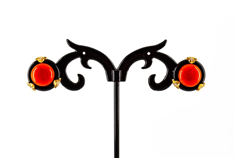 Art Deco Mediterranean Red Coral Onyx White Diamond Yellow Gold Clip-On Earrings For Sale 2
