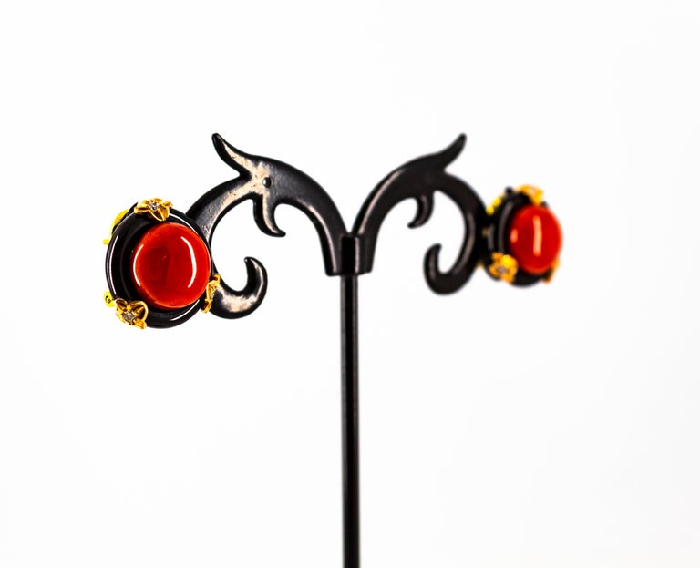 Art Deco Mediterranean Red Coral Onyx White Diamond Yellow Gold Clip-On Earrings For Sale 3