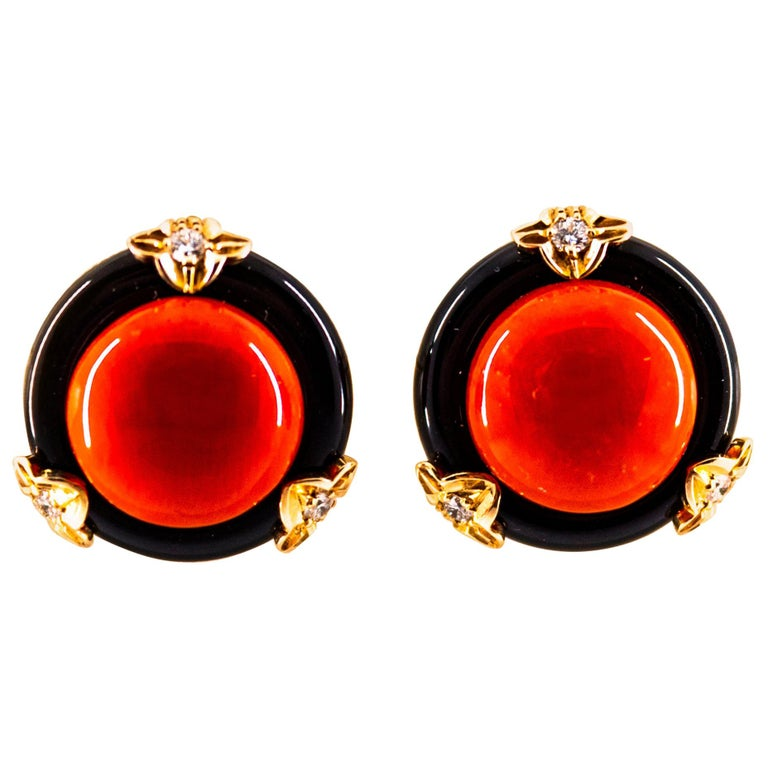 Art Deco Mediterranean Red Coral Onyx White Diamond Yellow Gold Clip-On Earrings For Sale
