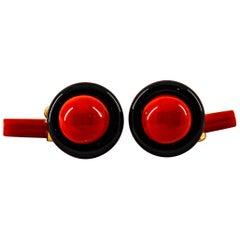 Art Deco Style Mediterranean Red Coral Onyx Yellow Gold Cufflinks