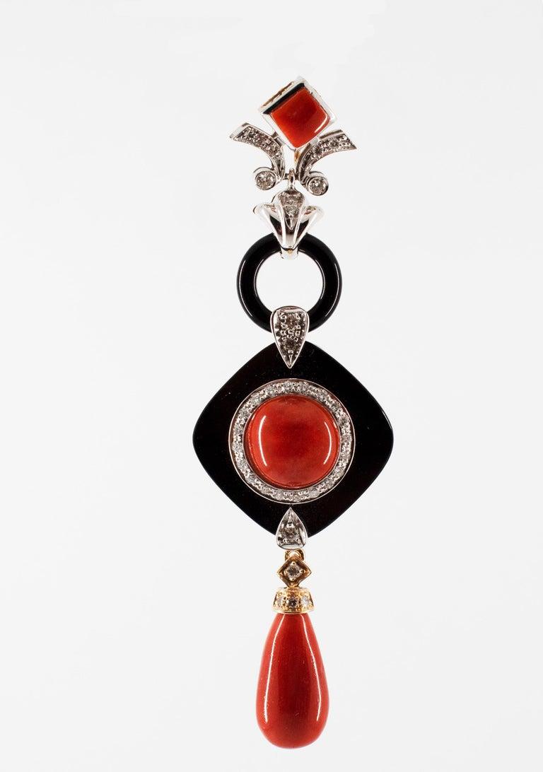 Brilliant Cut Art Deco Style Red Coral White Diamond Onyx White Gold Pendant Necklace For Sale