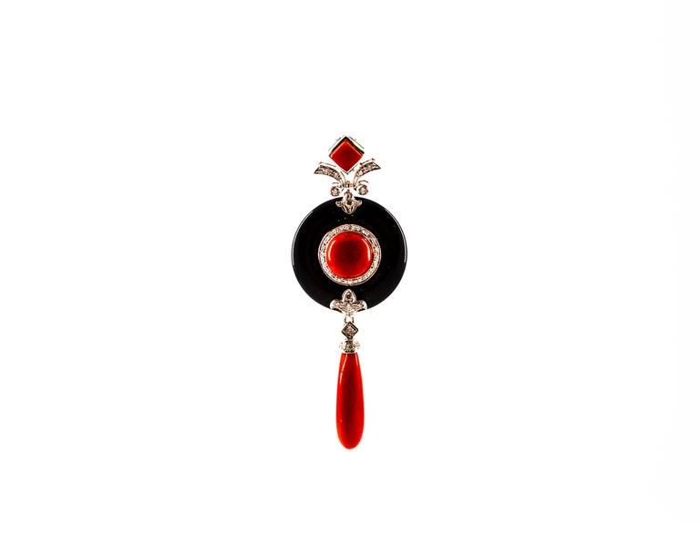 Cabochon Art Deco Style Sardinia Red Coral White Diamond Onyx White Gold Pendant Necklace For Sale