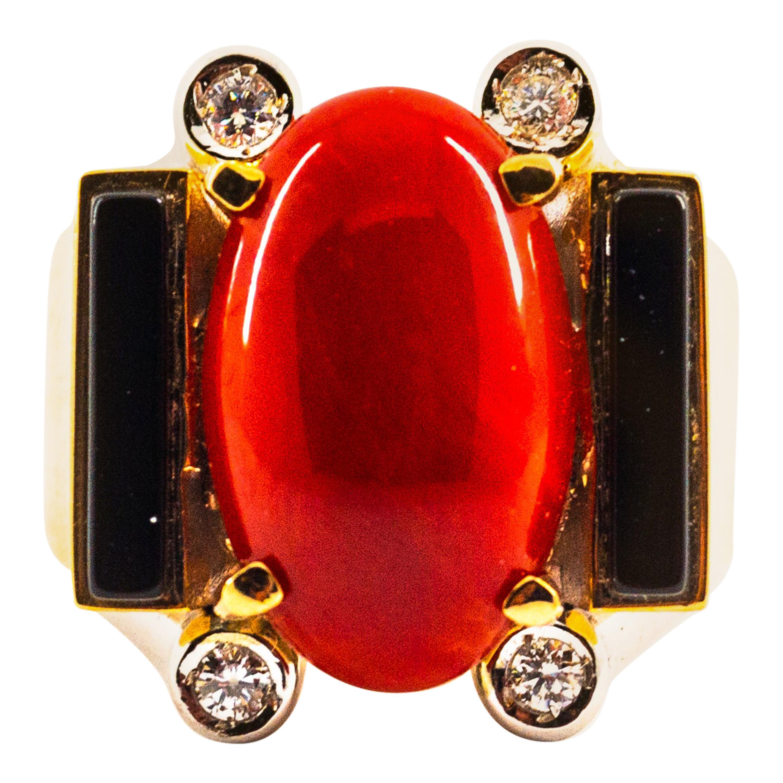 Art Deco Style Mediterranean Coral White Diamond Onyx Yellow Gold Cocktail Ring