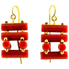 Art Deco Mediterranean Red Coral Yellow Gold Stud Dangle Earrings