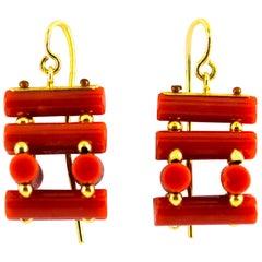 Art Deco Mediterranean Red Coral Yellow Gold Stud Dangle Earrings