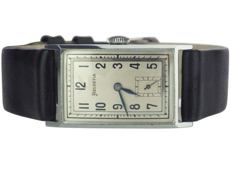 Art Deco Men's Chrome Tank Manual Wristwatch, Helvetia Newly Serviced circa 1930 2