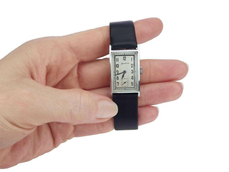 Art Deco Men's Chrome Tank Manual Wristwatch, Helvetia Newly Serviced circa 1930 3