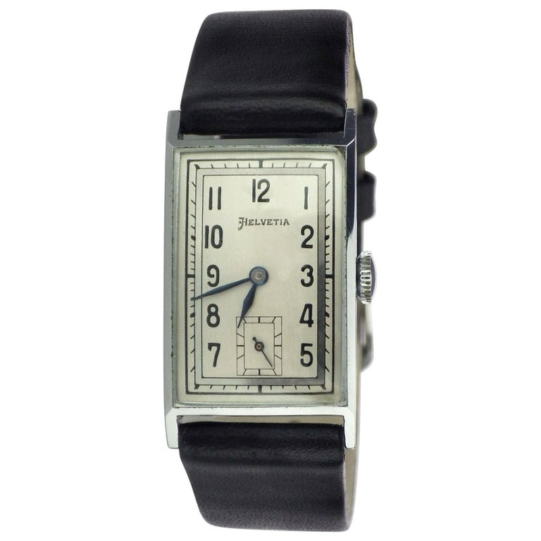 Art Deco Men's Chrome Tank Manual Wristwatch, Helvetia Newly Serviced circa 1930