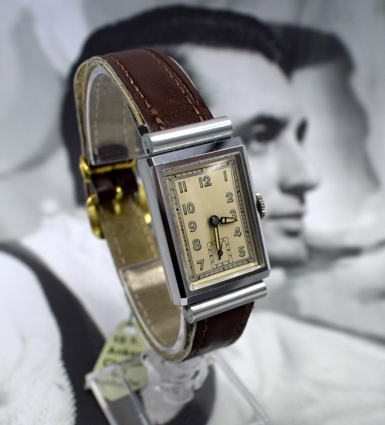 Art Deco Men's Chrome Tank Manual Wristwatch, Never Used, Newly Serviced, 1930 In Excellent Condition For Sale In Westward ho, GB