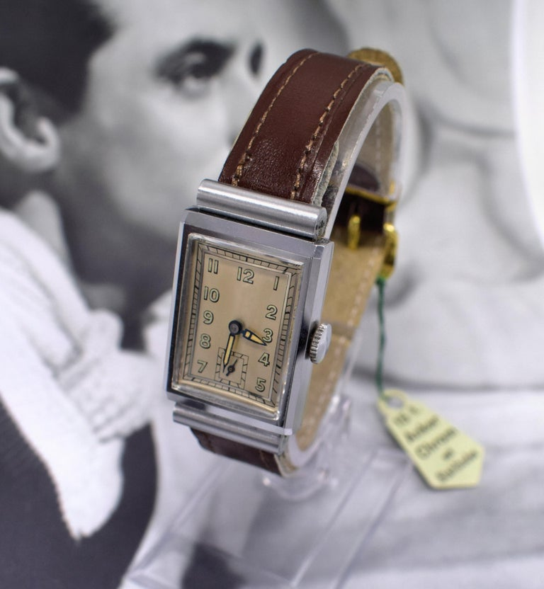 Men's Art Deco Men's Chrome Tank Manual Wristwatch, Never Used, Newly Serviced, 1930 For Sale