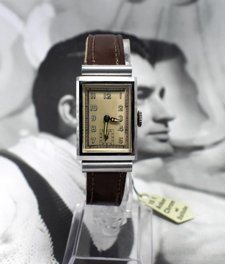 Art Deco Men's Chrome Tank Manual Wristwatch, Never Used, Newly Serviced, 1930 For Sale 1