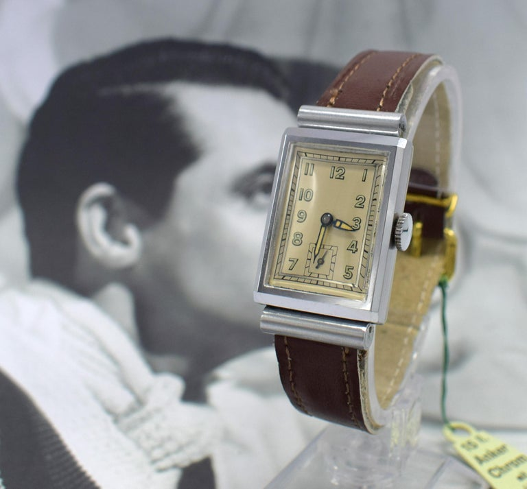 Art Deco Men's Chrome Tank Manual Wristwatch, Never Used, Newly Serviced, 1930 For Sale 3