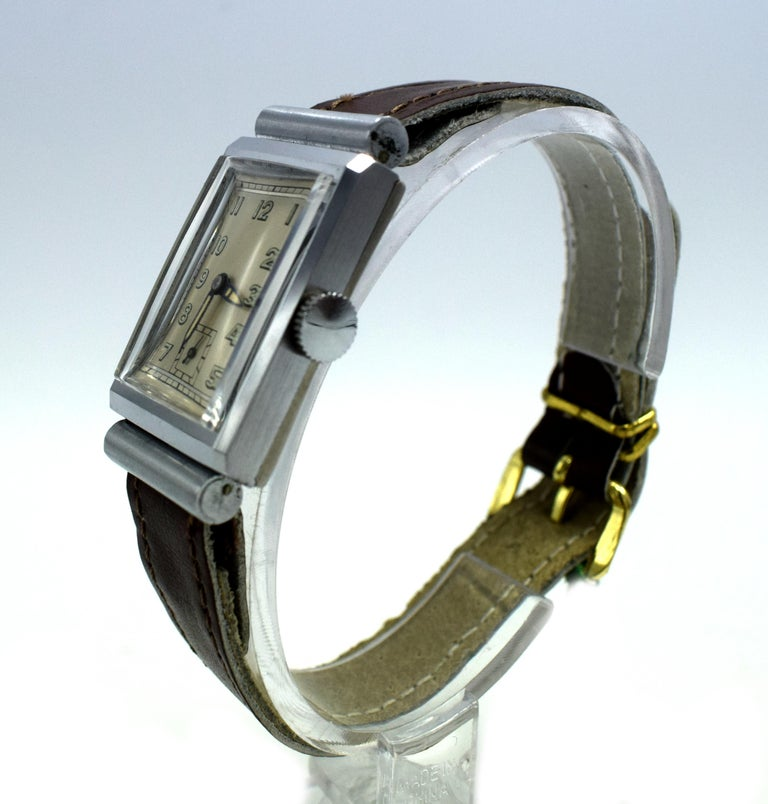 Art Deco Men's Chrome Tank Manual Wristwatch, Never Used, Newly Serviced, 1930 For Sale 4