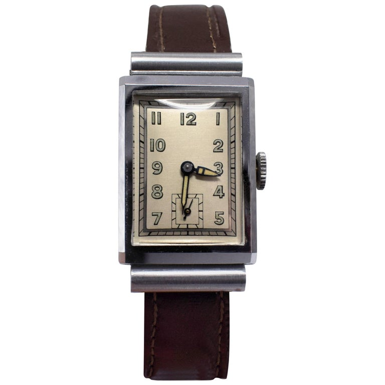 Art Deco Men's Chrome Tank Manual Wristwatch, Never Used, Newly Serviced, 1930 For Sale