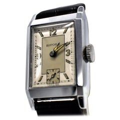 Art Deco Men's Chrome Tank Manual Wristwatch, Never Used, Newly Serviced, 1930