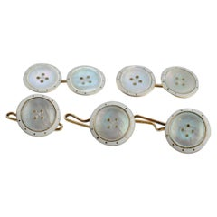 Art Deco Men's Figural Faux Button Gold, Enamel, and MOP Cufflink Dress Set