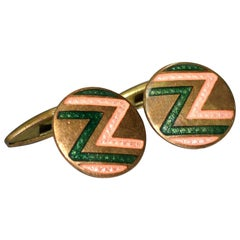 Art Deco Men's Geometric Enamel Cufflinks, circa 1930