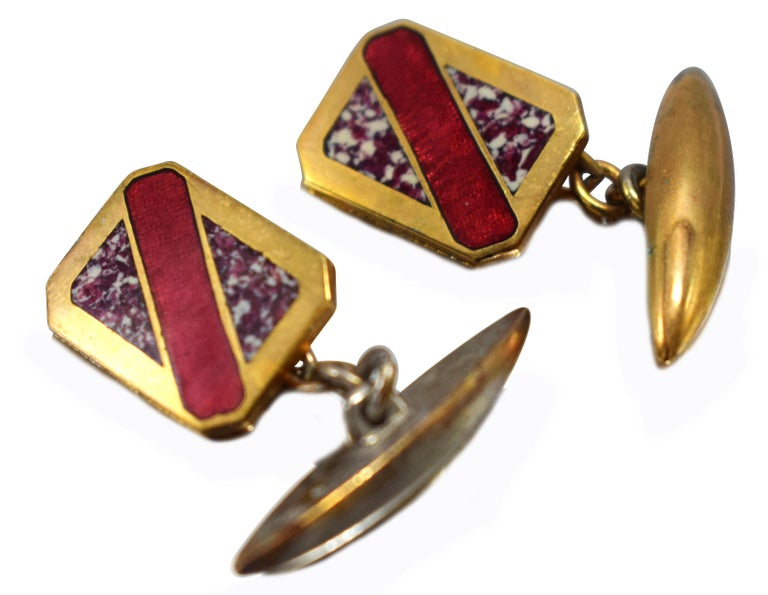 Great Art Deco geometric styling and colour, can't be confused with any other era can they? Condition is great with very mid signs of usage. Originating from England and ideal for any modern dapper gentleman. All of our cufflinks are sent out in a