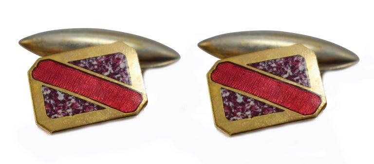 Art Deco Men's Geometric Enamel Cufflinks, circa 1930s For Sale 1
