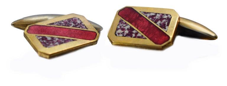 Art Deco Men's Geometric Enamel Cufflinks, circa 1930s For Sale 4
