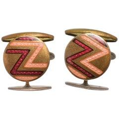 Art Deco Men's Geometric Enamel Cufflinks