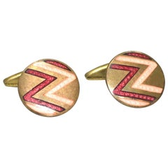 Art Deco Men's Geometric Enamel Cufflinks