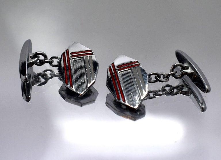 Art Deco Men's Silver and Enamel Cufflinks In Good Condition For Sale In Westward ho, GB