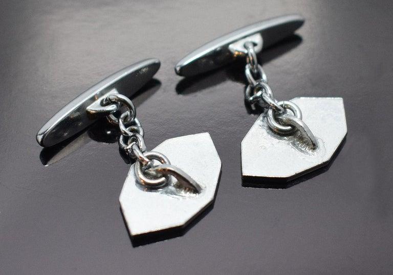 Art Deco Men's Silver and Enamel Cufflinks For Sale 1