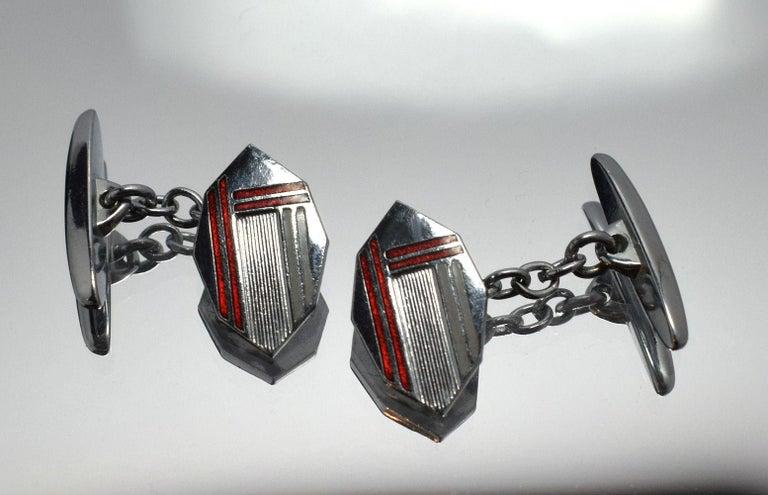 Art Deco Men's Silver and Enamel Cufflinks For Sale 2