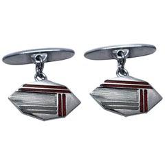 Art Deco Men's Silver and Enamel Cufflinks