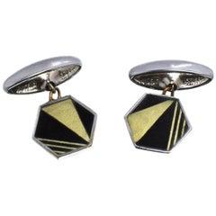 Art Deco Men's Two-Tone Geometric Cufflinks