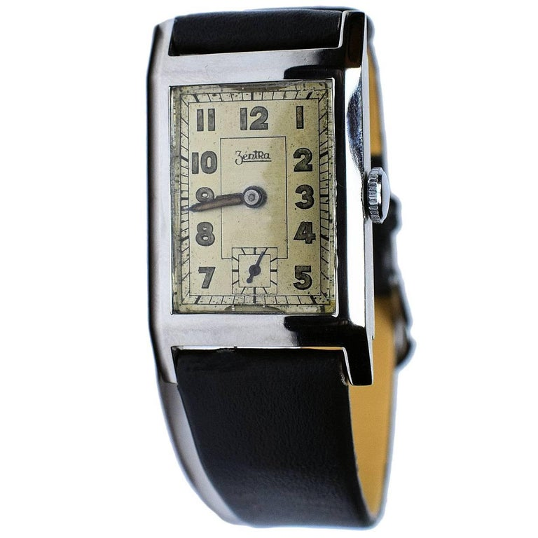 Art Deco Men's Very Rare Zentra Wristwatch