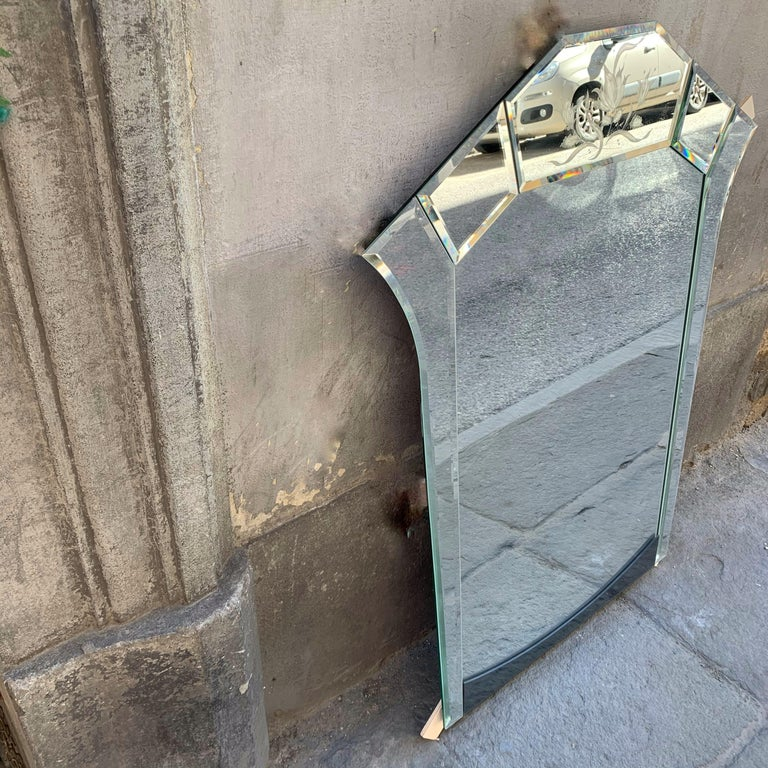 Art Deco Mercury Ground Glass Mirror with Engravings, 1940s In Excellent Condition In Florence, IT
