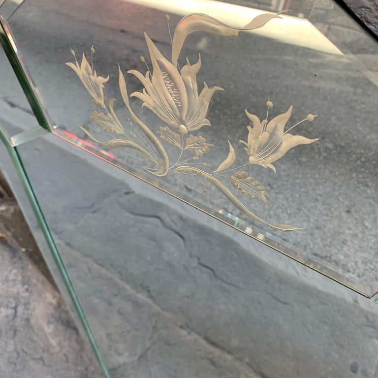 Art Deco Mercury Ground Glass Mirror with Engravings, 1940s 1