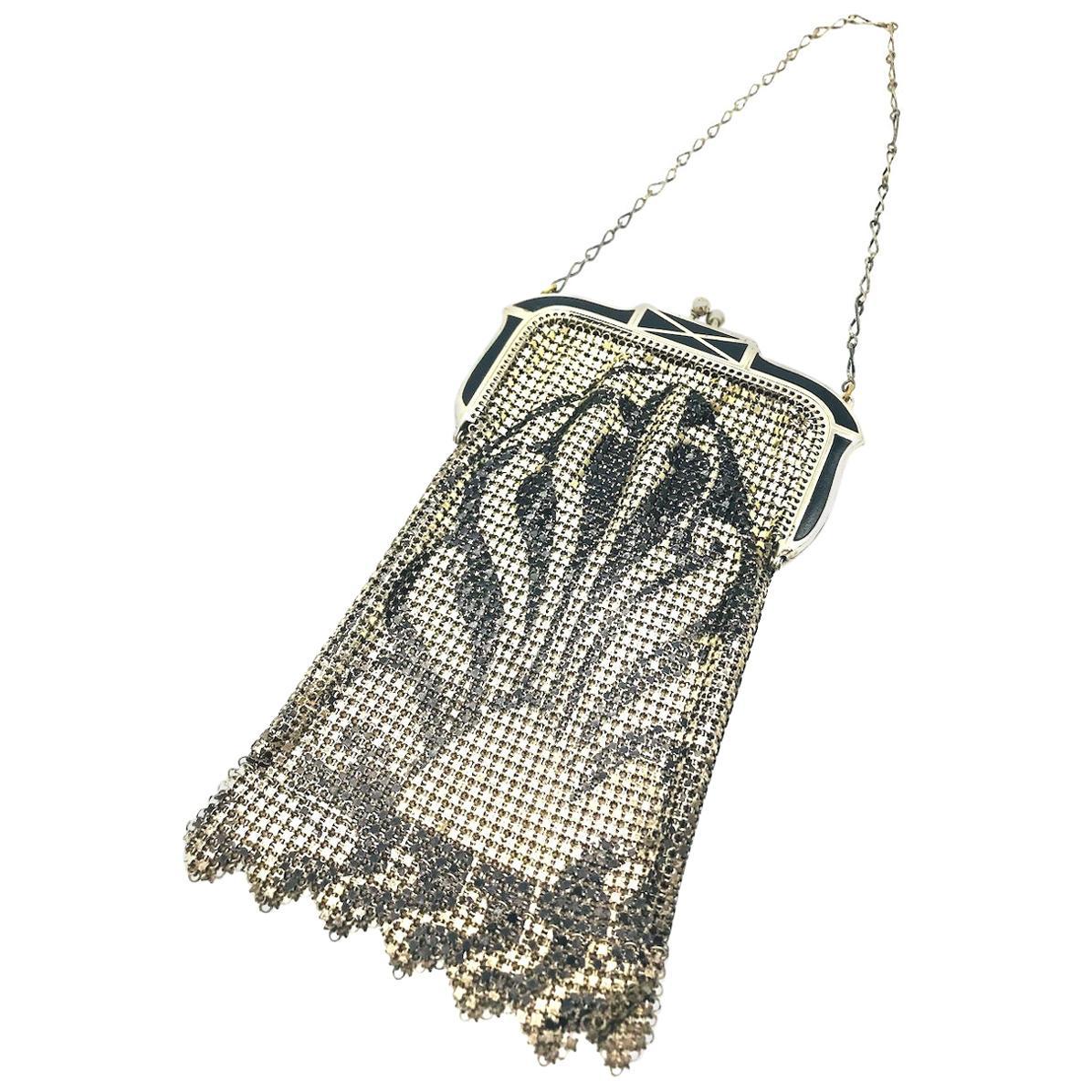 Art Deco Mesh Black Enameled Silver Pouch Purse Circa 1876