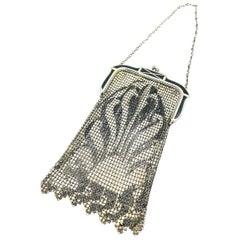 Art Deco Mesh, Gala Pouch, Black Enameled Silver