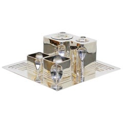 Art Deco Metal 5-Piece Cube Tea Pot Set Stamped Made in England 1917
