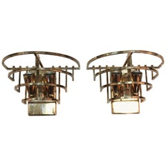Art Deco Metal Frame Sconces