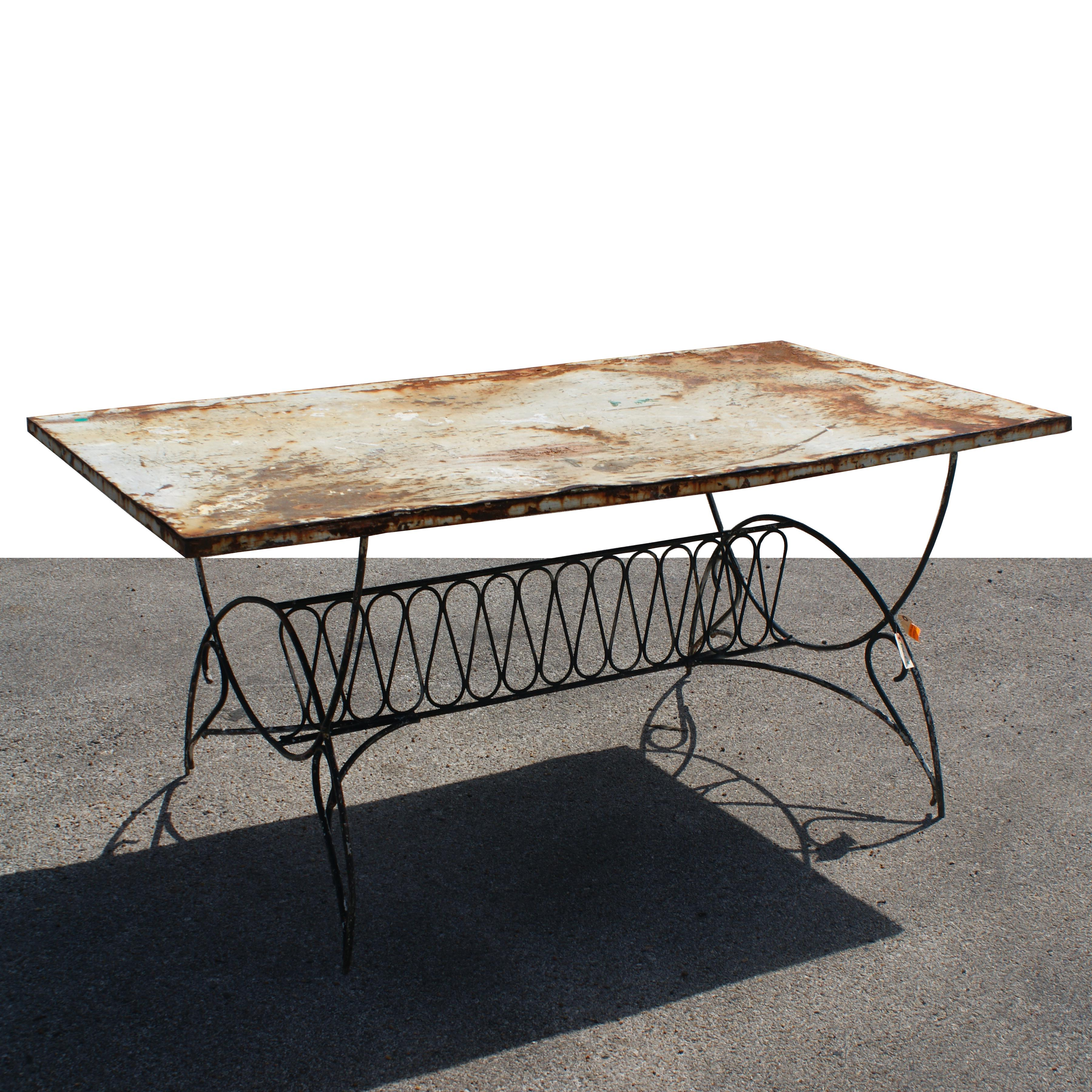 Art deco metal outdoor patio dining table for sale at 1stdibs